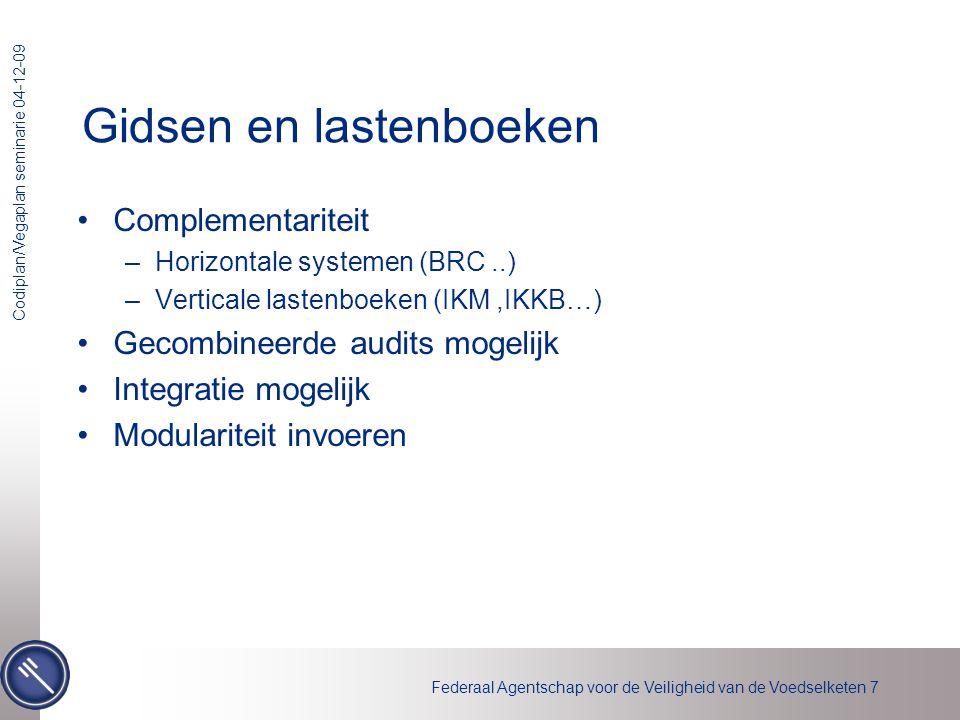 Federaal Agentschap voor de Veiligheid van de Voedselketen 18 Codiplan/Vegaplan seminarie 04-12-09 Referenties •Autocontrole –Website agentschap (www.favv.be)www.favv.be –http://www.favv.be/autocontrole-nl/http://www.favv.be/autocontrole-nl/ •Wetgeving –België •http://www.ejustice.just.fgov.be/cgi_wet/wet.pl •http://www.warenwetgeving.be/ –Europa : •http://eur-lex.europa.eu/ •Communautair register gidsen •http://ec.europa.eu/food/food/biosafety/hygienelegislation/register_national_guides_en.pdf