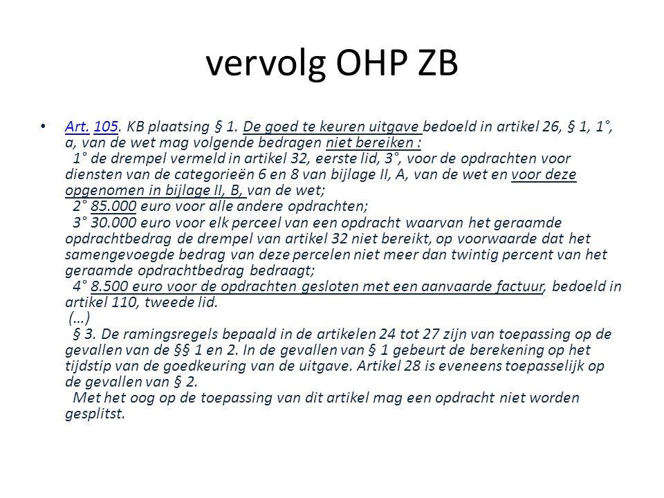 vervolg OHP ZB • Art.105. KB plaatsing § 1.