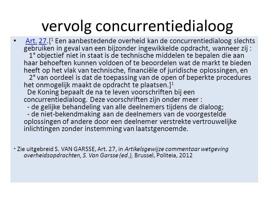 vervolg concurrentiedialoog • Art.