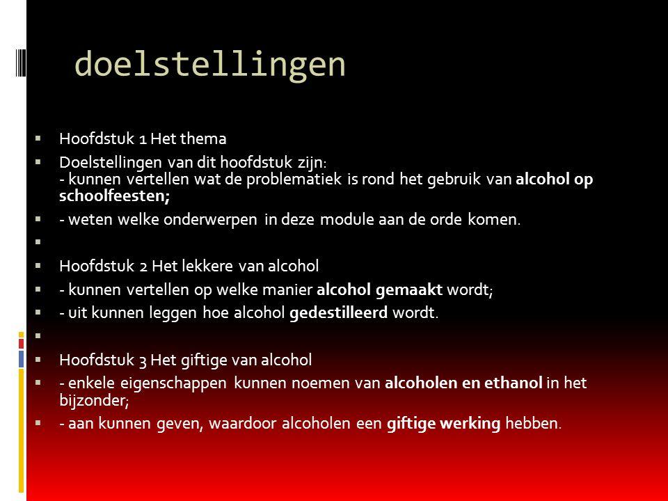 doelstellingen  Hoofdstuk 1 Het thema  Doelstellingen van dit hoofdstuk zijn: - kunnen vertellen wat de problematiek is rond het gebruik van alcohol
