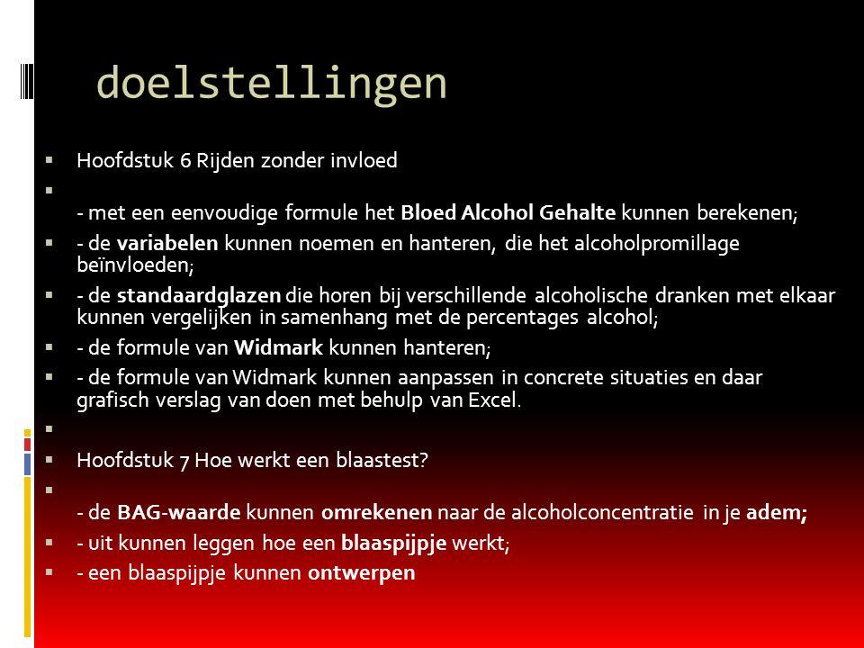 doelstellingen  Hoofdstuk 6 Rijden zonder invloed  - met een eenvoudige formule het Bloed Alcohol Gehalte kunnen berekenen;  - de variabelen kunnen
