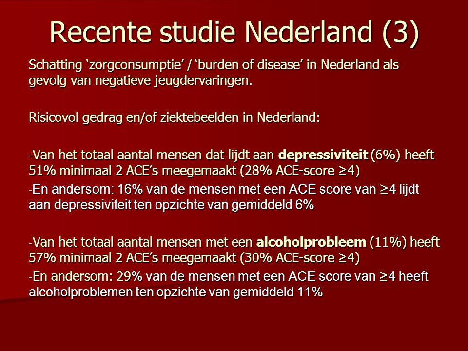 Recente studie Nederland (4) Risicovol gedrag en/of ziektebeelden in Nederland: - Van het totaal aantal mensen met obesitas (12%) heeft 33% minimaal 2 ACE's meegemaakt - En andersom: 16% van de mensen met een ACE-score ≥4 lijdt aan obesitas ten opzichte van 12% gemiddeld - Van het totaal aantal mensen met COPD (2%) heeft 45% minimaal 2 ACE's meegemaakt - En andersom: 5% van de mensen met een ACE-score ≥4 lijdt aan COPD ten opzichte van 2% gemiddeld - Van het totaal aantal mensen met diabetes (4%) heeft 32% minimaal 2 ACE's meegemaakt - En andersom: 6% van de mensen met een ACE-score ≥4 lijdt aan diabetes ten opzichte van 4% gemiddeld