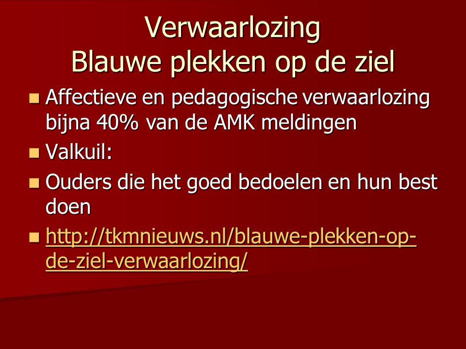 Verwaarlozing Blauwe plekken op de ziel  Affectieve en pedagogische verwaarlozing bijna 40% van de AMK meldingen  Valkuil:  Ouders die het goed bedoelen en hun best doen  http://tkmnieuws.nl/blauwe-plekken-op- de-ziel-verwaarlozing/ http://tkmnieuws.nl/blauwe-plekken-op- de-ziel-verwaarlozing/ http://tkmnieuws.nl/blauwe-plekken-op- de-ziel-verwaarlozing/