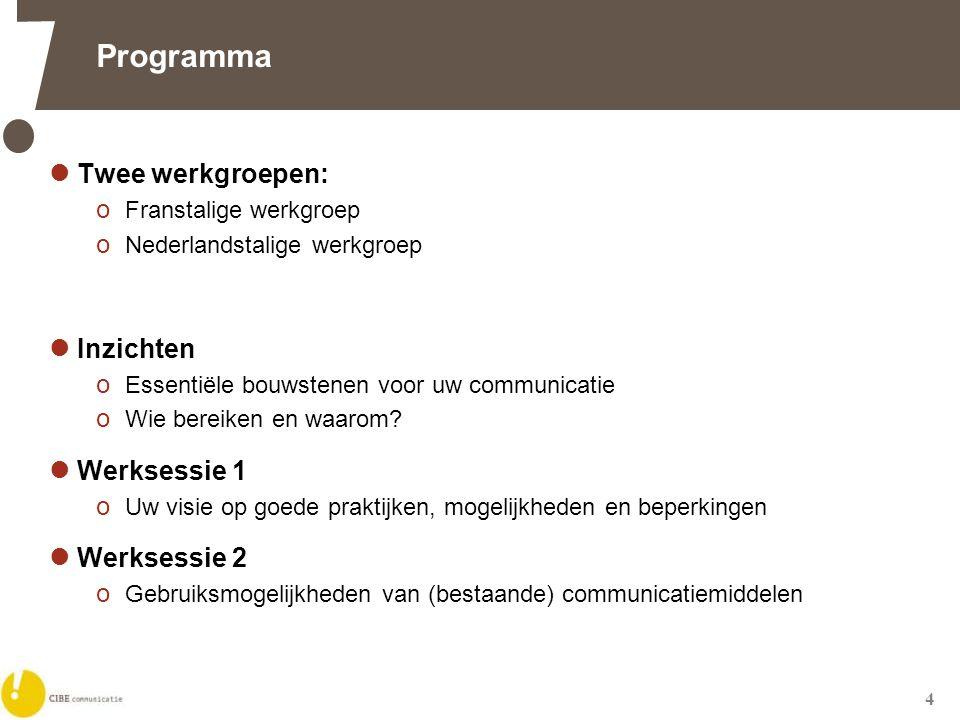 4 Programma  Twee werkgroepen: o Franstalige werkgroep o Nederlandstalige werkgroep  Inzichten o Essentiële bouwstenen voor uw communicatie o Wie bereiken en waarom.