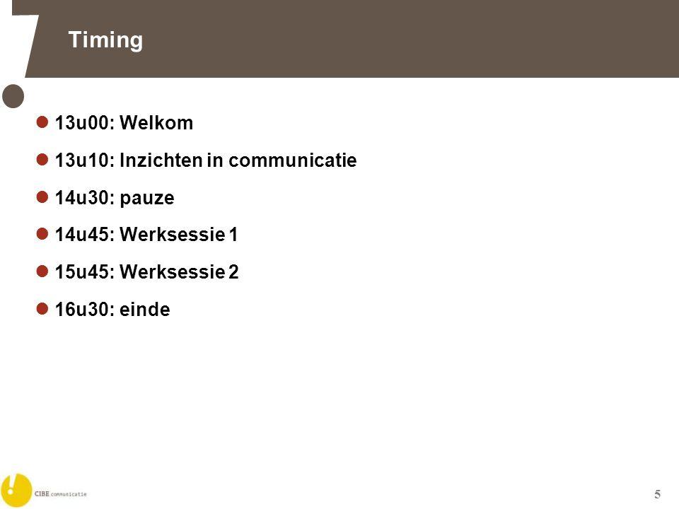5 Timing  13u00: Welkom  13u10: Inzichten in communicatie  14u30: pauze  14u45: Werksessie 1  15u45: Werksessie 2  16u30: einde