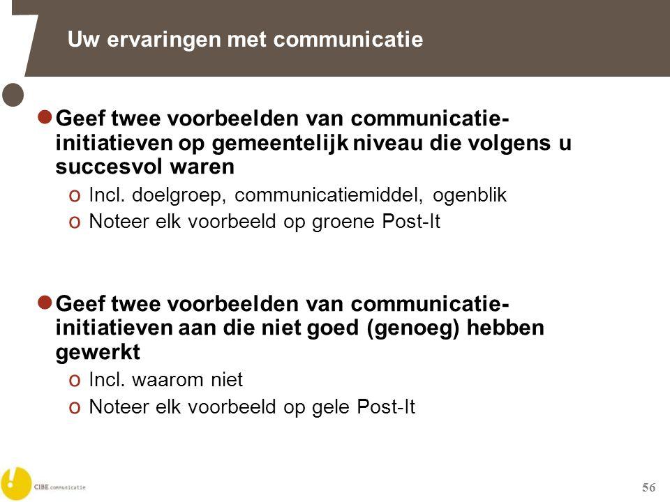 56 Uw ervaringen met communicatie  Geef twee voorbeelden van communicatie- initiatieven op gemeentelijk niveau die volgens u succesvol waren o Incl.