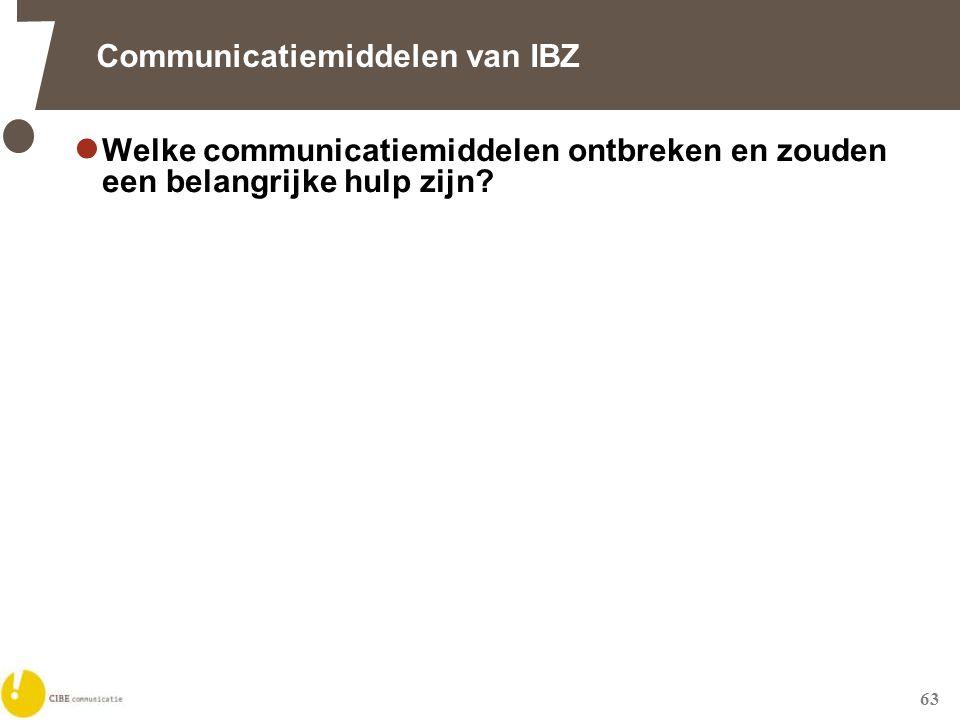 63 Communicatiemiddelen van IBZ  Welke communicatiemiddelen ontbreken en zouden een belangrijke hulp zijn