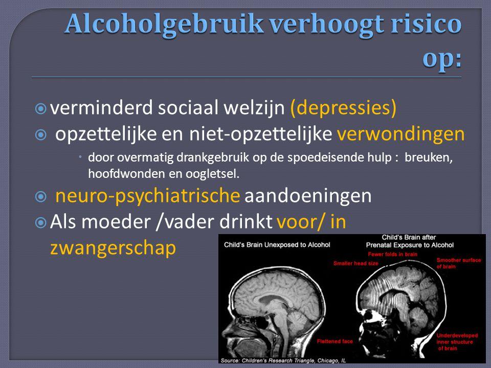  verminderd sociaal welzijn (depressies)  opzettelijke en niet-opzettelijke verwondingen  door overmatig drankgebruik op de spoedeisende hulp : bre