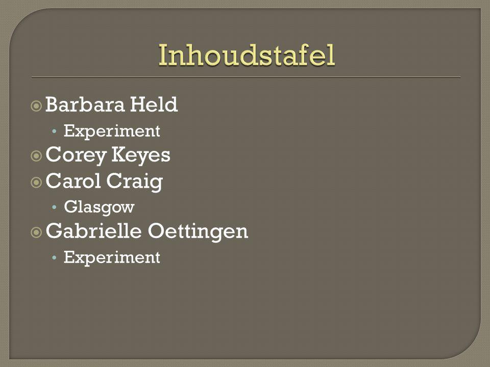  Barbara Held • Experiment  Corey Keyes  Carol Craig • Glasgow  Gabrielle Oettingen • Experiment