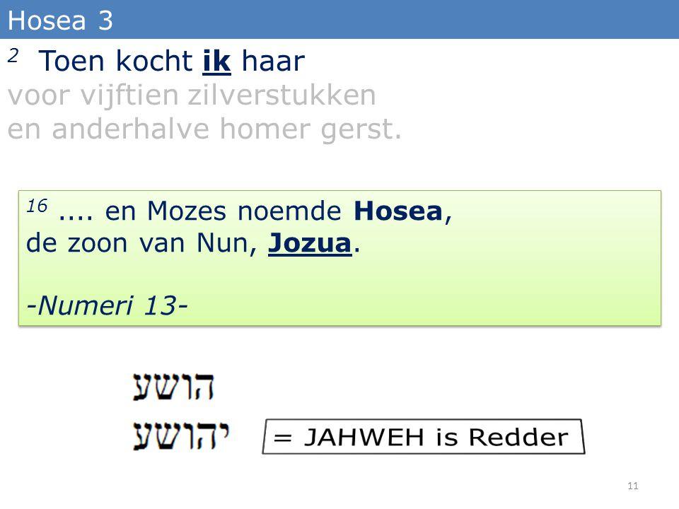 2 Toen kocht ik haar voor vijftien zilverstukken en anderhalve homer gerst. Hosea 3 16.... en Mozes noemde Hosea, de zoon van Nun, Jozua. -Numeri 13-