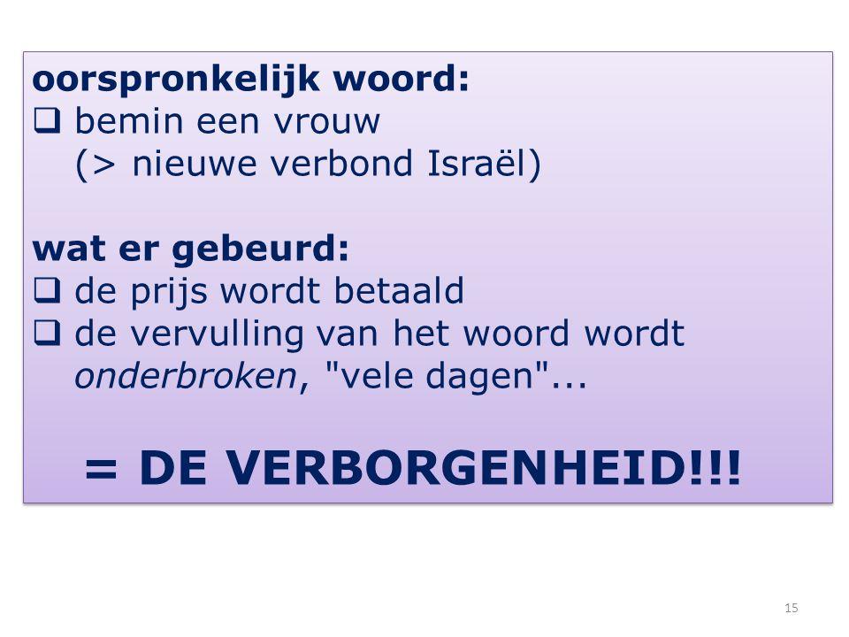 oorspronkelijk woord:  bemin een vrouw (> nieuwe verbond Israël) wat er gebeurd:  de prijs wordt betaald  de vervulling van het woord wordt onderbr