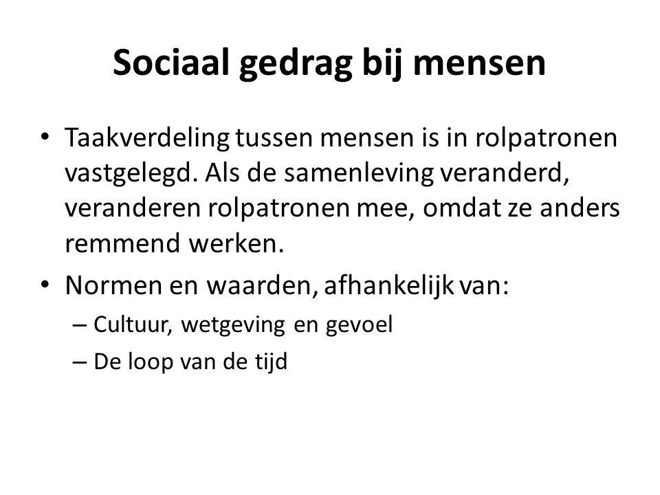 Sociaal gedrag bij mensen • Taakverdeling tussen mensen is in rolpatronen vastgelegd. Als de samenleving veranderd, veranderen rolpatronen mee, omdat