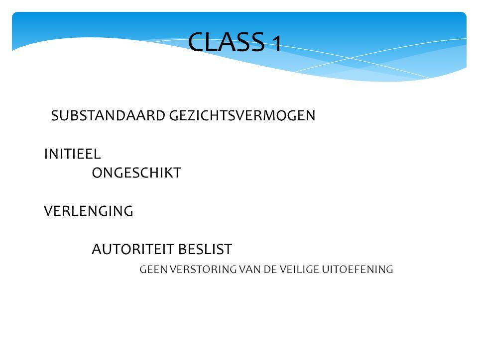CLASS 1 SUBSTANDAARD GEZICHTSVERMOGEN INITIEEL ONGESCHIKT VERLENGING AUTORITEIT BESLIST GEEN VERSTORING VAN DE VEILIGE UITOEFENING