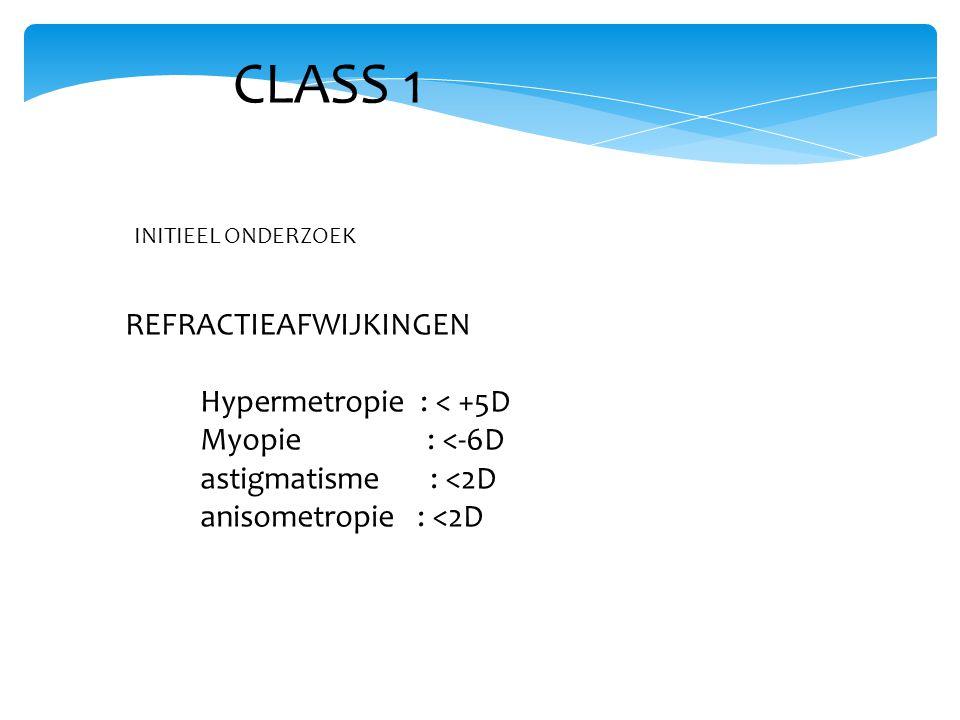 CLASS 1 REFRACTIEAFWIJKINGEN Hypermetropie : < +5D Myopie : <-6D astigmatisme : <2D anisometropie : <2D INITIEEL ONDERZOEK