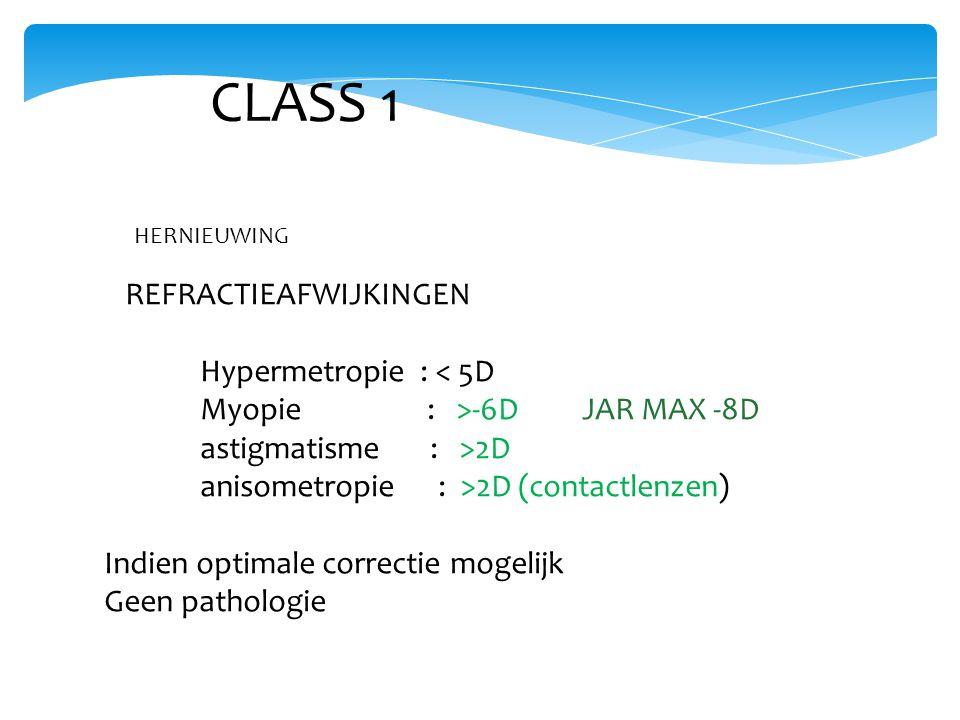 CLASS 1 REFRACTIEAFWIJKINGEN Hypermetropie : < 5D Myopie : >-6D JAR MAX -8D astigmatisme : >2D anisometropie : >2D (contactlenzen) Indien optimale correctie mogelijk Geen pathologie HERNIEUWING