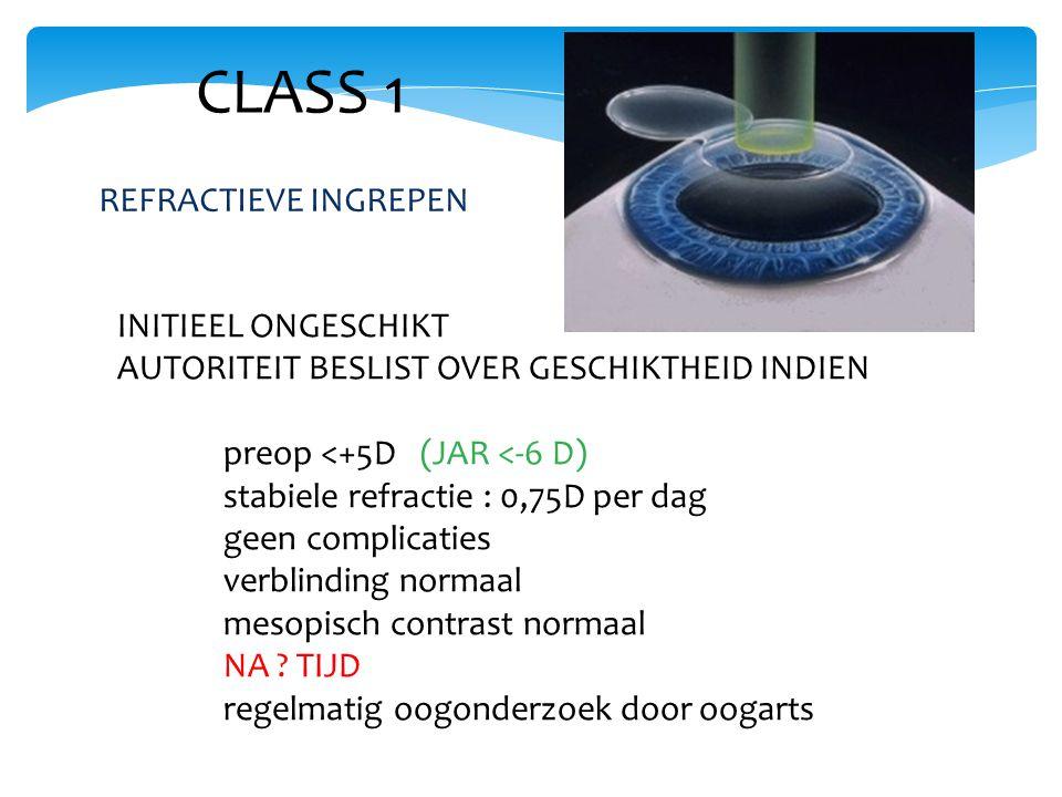 CLASS 1 INITIEEL ONGESCHIKT AUTORITEIT BESLIST OVER GESCHIKTHEID INDIEN preop <+5D (JAR <-6 D) stabiele refractie : 0,75D per dag geen complicaties verblinding normaal mesopisch contrast normaal NA .