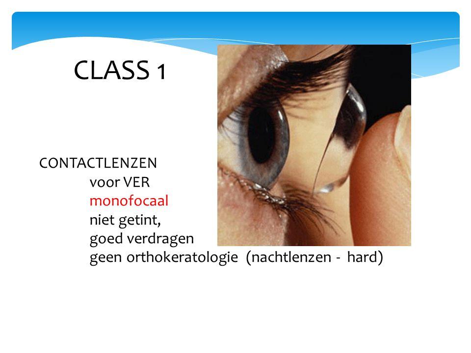 CLASS 1 CONTACTLENZEN voor VER monofocaal niet getint, goed verdragen geen orthokeratologie (nachtlenzen - hard)
