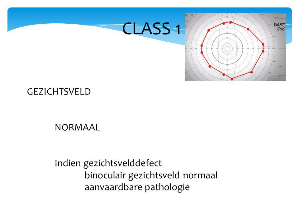 CLASS 1 GEZICHTSVELD NORMAAL Indien gezichtsvelddefect binoculair gezichtsveld normaal aanvaardbare pathologie