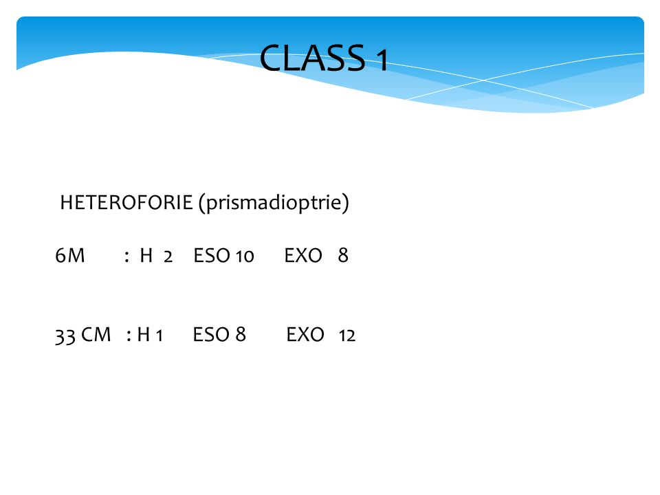 CLASS 1 HETEROFORIE (prismadioptrie) 6M : H 2 ESO 10 EXO 8 33 CM : H 1 ESO 8 EXO 12