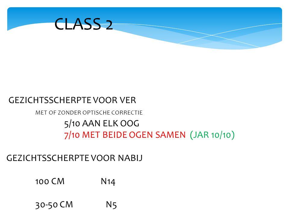 CLASS 2 GEZICHTSSCHERPTE VOOR VER MET OF ZONDER OPTISCHE CORRECTIE 5/10 AAN ELK OOG 7/10 MET BEIDE OGEN SAMEN (JAR 10/10) GEZICHTSSCHERPTE VOOR NABIJ 100 CM N14 30-50 CM N5