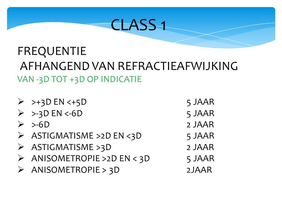 CLASS 1 FREQUENTIE AFHANGEND VAN REFRACTIEAFWIJKING VAN -3D TOT +3D OP INDICATIE  >+3D EN <+5D 5 JAAR  >-3D EN <-6D 5 JAAR  >-6D 2 JAAR  ASTIGMATISME >2D EN <3D 5 JAAR  ASTIGMATISME >3D 2 JAAR  ANISOMETROPIE >2D EN < 3D 5 JAAR  ANISOMETROPIE > 3D 2JAAR