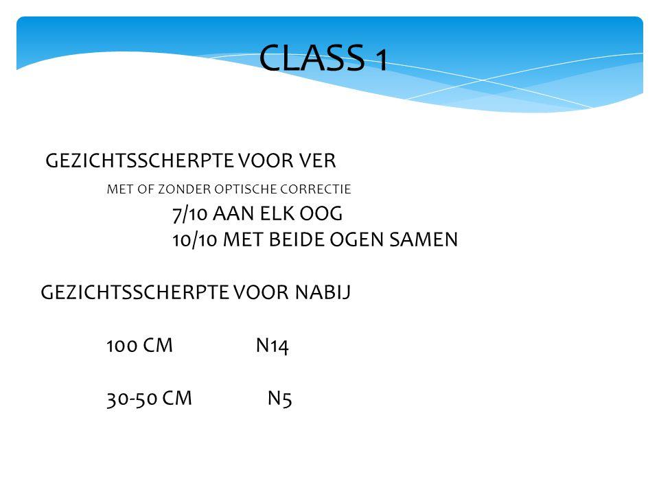 CLASS 1 GEZICHTSSCHERPTE VOOR VER MET OF ZONDER OPTISCHE CORRECTIE 7/10 AAN ELK OOG 10/10 MET BEIDE OGEN SAMEN GEZICHTSSCHERPTE VOOR NABIJ 100 CM N14 30-50 CM N5