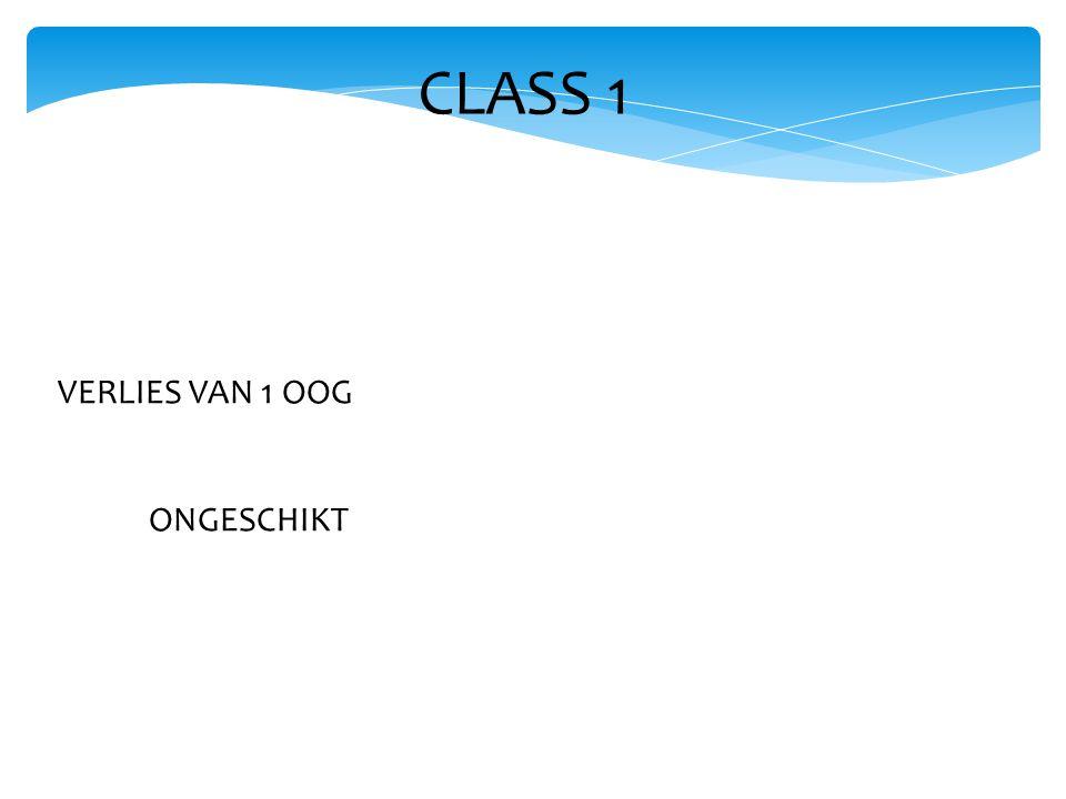 CLASS 1 VERLIES VAN 1 OOG ONGESCHIKT