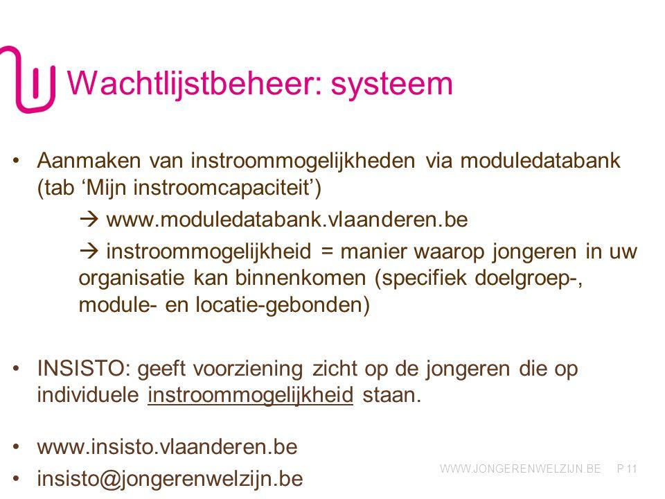 WWW.JONGERENWELZIJN.BE P Wachtlijstbeheer: systeem •Aanmaken van instroommogelijkheden via moduledatabank (tab 'Mijn instroomcapaciteit')  www.module