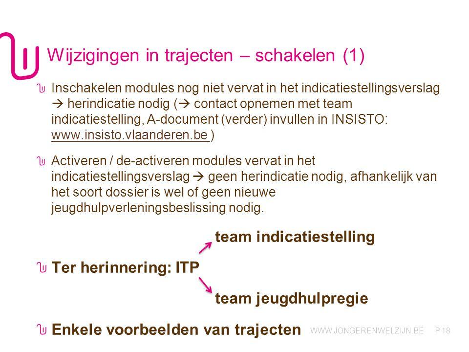 WWW.JONGERENWELZIJN.BE P Wijzigingen in trajecten – schakelen (1) 18 Inschakelen modules nog niet vervat in het indicatiestellingsverslag  herindicat