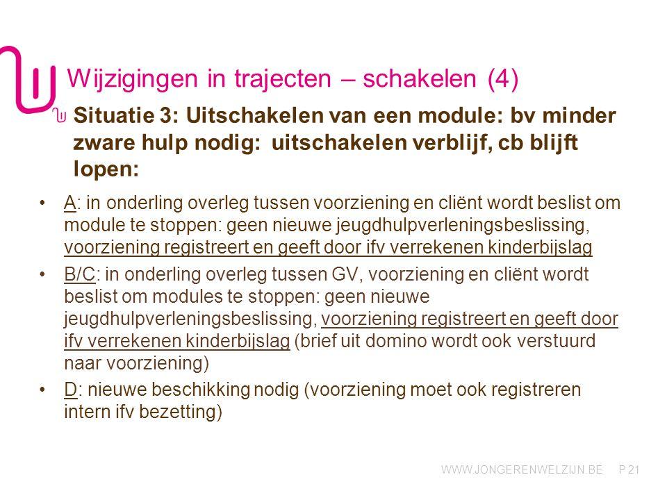 WWW.JONGERENWELZIJN.BE P Wijzigingen in trajecten – schakelen (4) 21 Situatie 3: Uitschakelen van een module: bv minder zware hulp nodig: uitschakelen