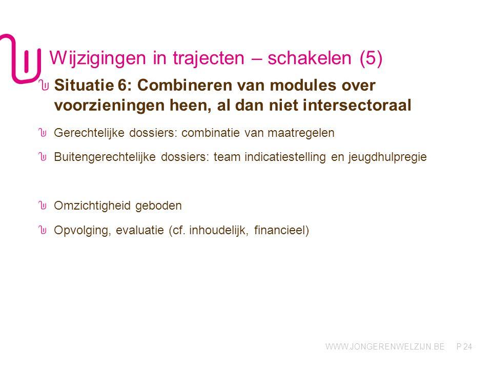 WWW.JONGERENWELZIJN.BE P Wijzigingen in trajecten – schakelen (5) 24 Situatie 6: Combineren van modules over voorzieningen heen, al dan niet intersect