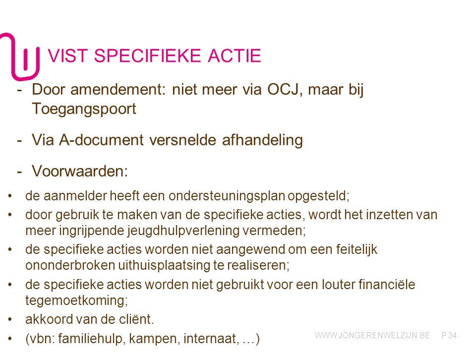 WWW.JONGERENWELZIJN.BE P VIST SPECIFIEKE ACTIE 34 -Door amendement: niet meer via OCJ, maar bij Toegangspoort -Via A-document versnelde afhandeling -V
