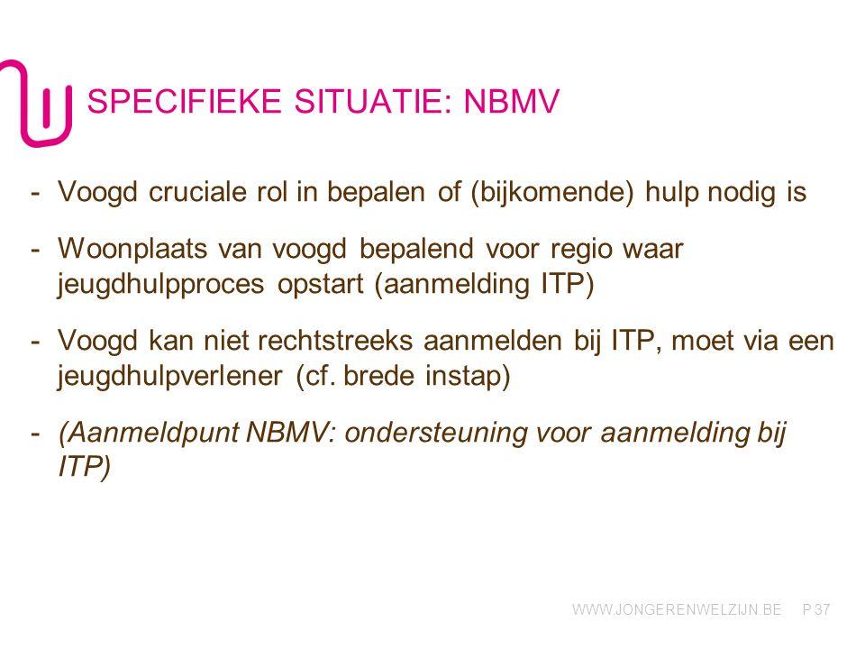 WWW.JONGERENWELZIJN.BE P SPECIFIEKE SITUATIE: NBMV 37 -Voogd cruciale rol in bepalen of (bijkomende) hulp nodig is -Woonplaats van voogd bepalend voor