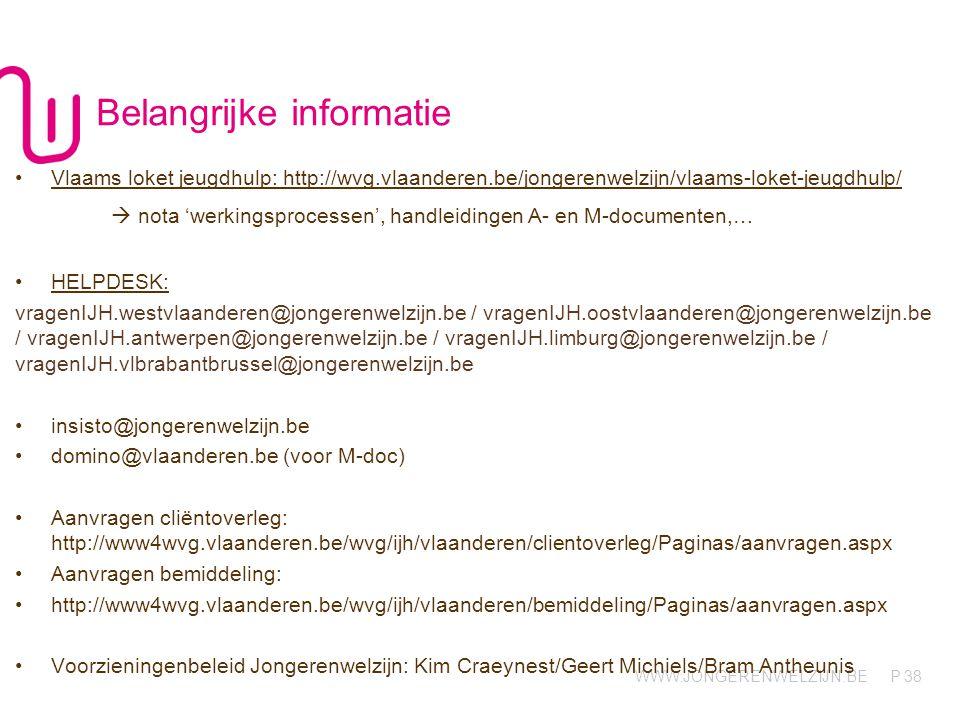 WWW.JONGERENWELZIJN.BE P Belangrijke informatie 38 •Vlaams loket jeugdhulp: http://wvg.vlaanderen.be/jongerenwelzijn/vlaams-loket-jeugdhulp/  nota 'w