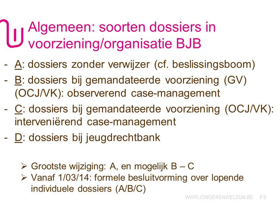WWW.JONGERENWELZIJN.BE P Algemeen: soorten dossiers in voorziening/organisatie BJB -A: dossiers zonder verwijzer (cf. beslissingsboom) -B: dossiers bi