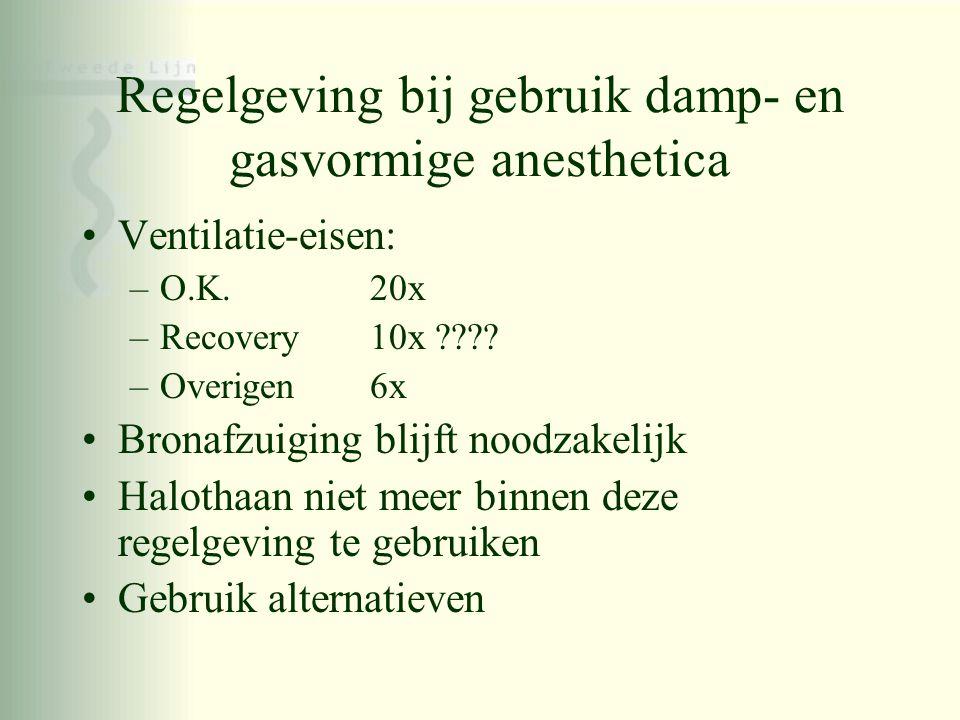 Regelgeving bij gebruik damp- en gasvormige anesthetica •Ventilatie-eisen: –O.K. 20x –Recovery 10x ???? –Overigen 6x •Bronafzuiging blijft noodzakelij