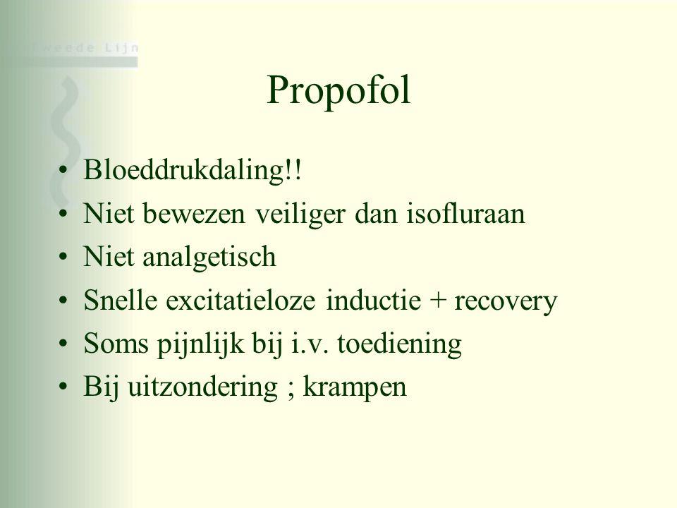 Propofol •Bloeddrukdaling!! •Niet bewezen veiliger dan isofluraan •Niet analgetisch •Snelle excitatieloze inductie + recovery •Soms pijnlijk bij i.v.
