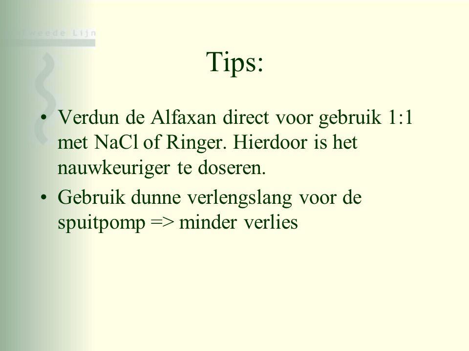 Tips: •Verdun de Alfaxan direct voor gebruik 1:1 met NaCl of Ringer. Hierdoor is het nauwkeuriger te doseren. •Gebruik dunne verlengslang voor de spui