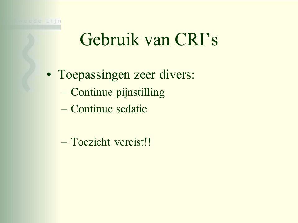 Gebruik van CRI's •Toepassingen zeer divers: –Continue pijnstilling –Continue sedatie –Toezicht vereist!!