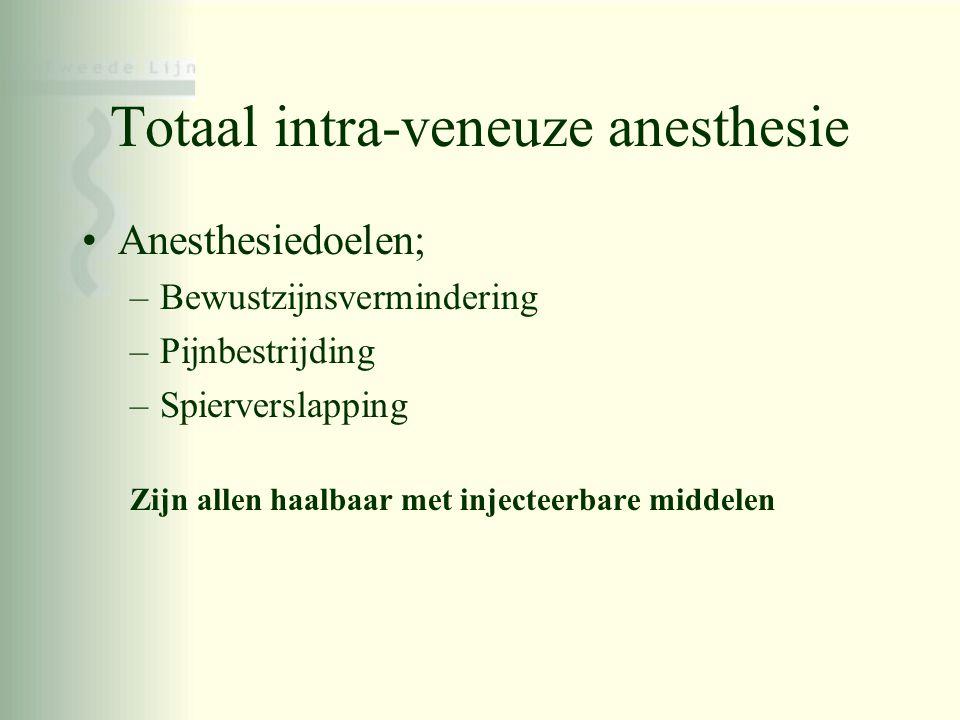 Totaal intra-veneuze anesthesie •Anesthesiedoelen; –Bewustzijnsvermindering –Pijnbestrijding –Spierverslapping Zijn allen haalbaar met injecteerbare m