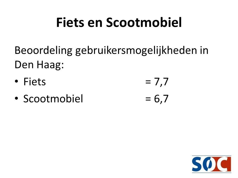 Fiets en Scootmobiel Beoordeling gebruikersmogelijkheden in Den Haag: • Fiets = 7,7 • Scootmobiel = 6,7