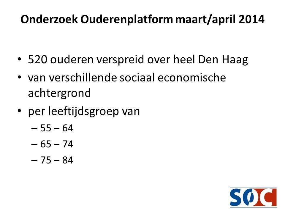 Onderzoek Ouderenplatform maart/april 2014 • 520 ouderen verspreid over heel Den Haag • van verschillende sociaal economische achtergrond • per leeftijdsgroep van – 55 – 64 – 65 – 74 – 75 – 84