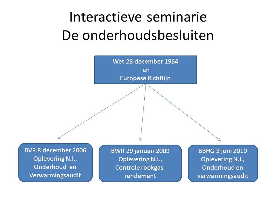 Interactieve seminarie De onderhoudsbesluiten Wet 28 december 1964 en Europese Richtlijn BVR 8 december 2006 Oplevering N.I., Onderhoud en Verwarmings