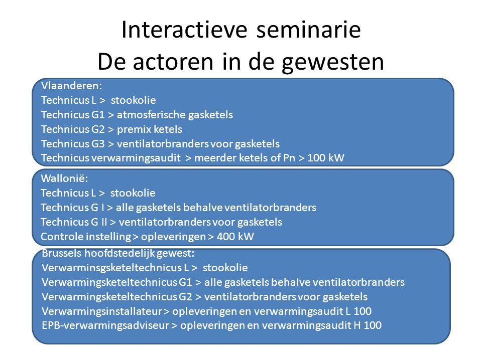 Interactieve seminarie De actoren in de gewesten Vlaanderen: Technicus L > stookolie Technicus G1 > atmosferische gasketels Technicus G2 > premix kete