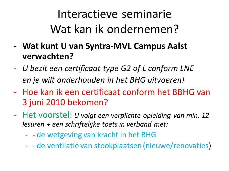 Interactieve seminarie Wat kan ik ondernemen? -Wat kunt U van Syntra-MVL Campus Aalst verwachten? -U bezit een certificaat type G2 of L conform LNE en