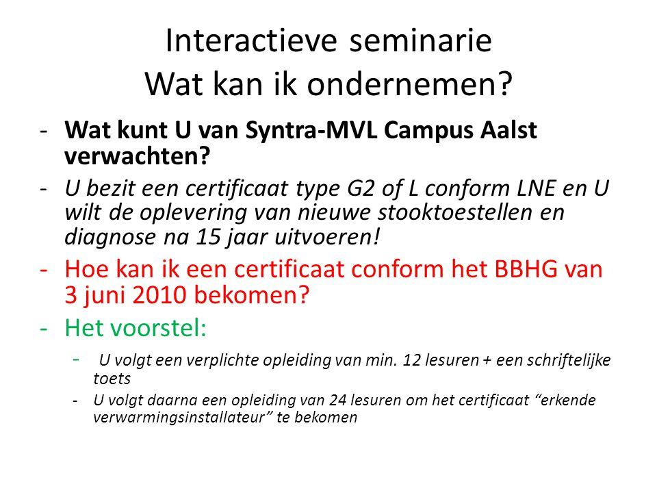 Interactieve seminarie Wat kan ik ondernemen.-Wat kunt U van Syntra-MVL Campus Aalst verwachten.