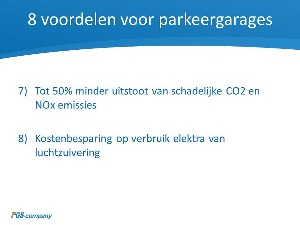 8 voordelen voor parkeergarages 7)Tot 50% minder uitstoot van schadelijke CO2 en NOx emissies 8)Kostenbesparing op verbruik elektra van luchtzuivering