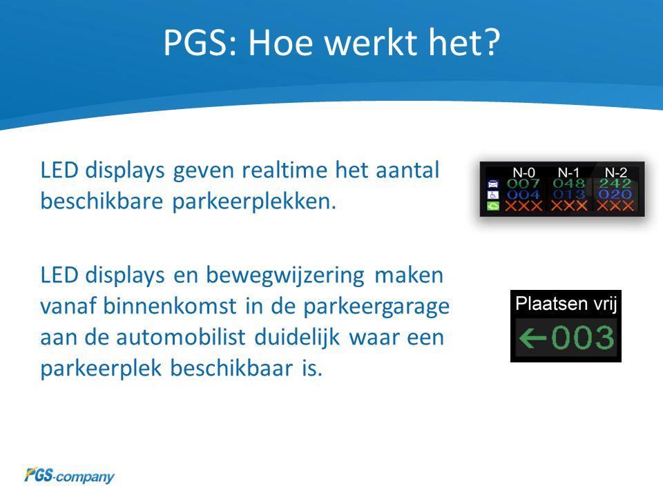 PGS: Hoe werkt het? LED displays geven realtime het aantal beschikbare parkeerplekken. LED displays en bewegwijzering maken vanaf binnenkomst in de pa