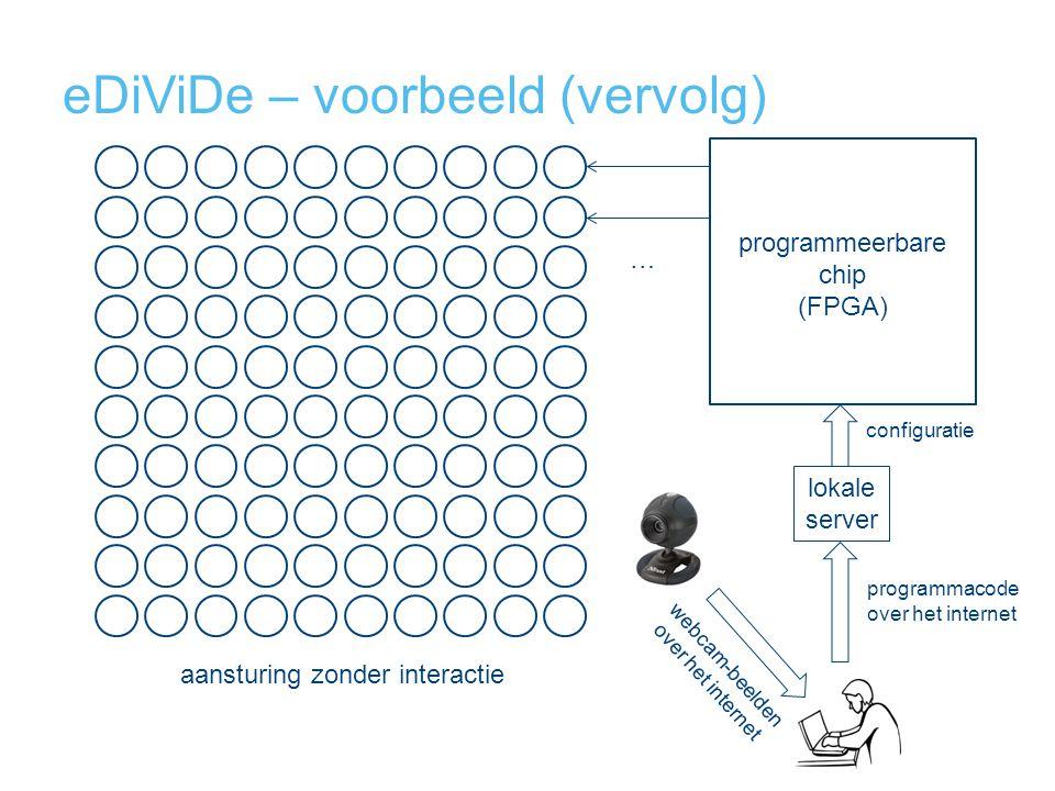 eDiViDe – voorbeeld (vervolg) programmeerbare chip (FPGA) … programmacode over het internet lokale server configuratie webcam-beelden over het internet aansturing zonder interactie