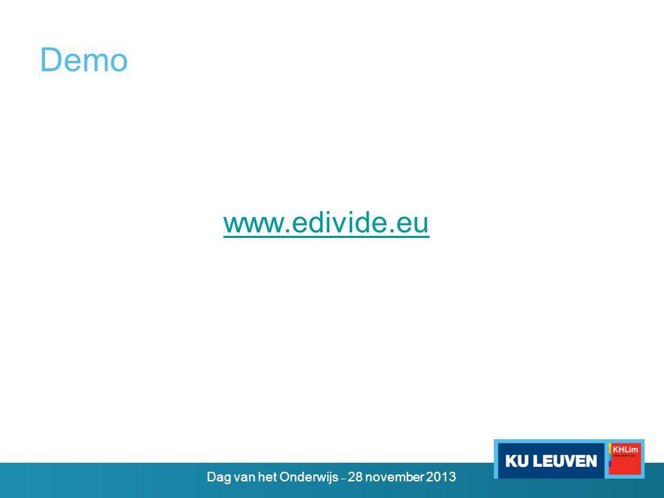 Demo www.edivide.eu Dag van het Onderwijs – 28 november 2013